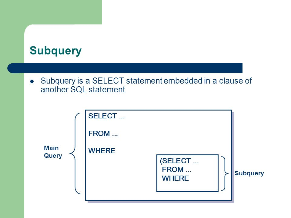 Subquery Subquery is a SELECT statement embedded in a clause of another SQL statement SELECT...