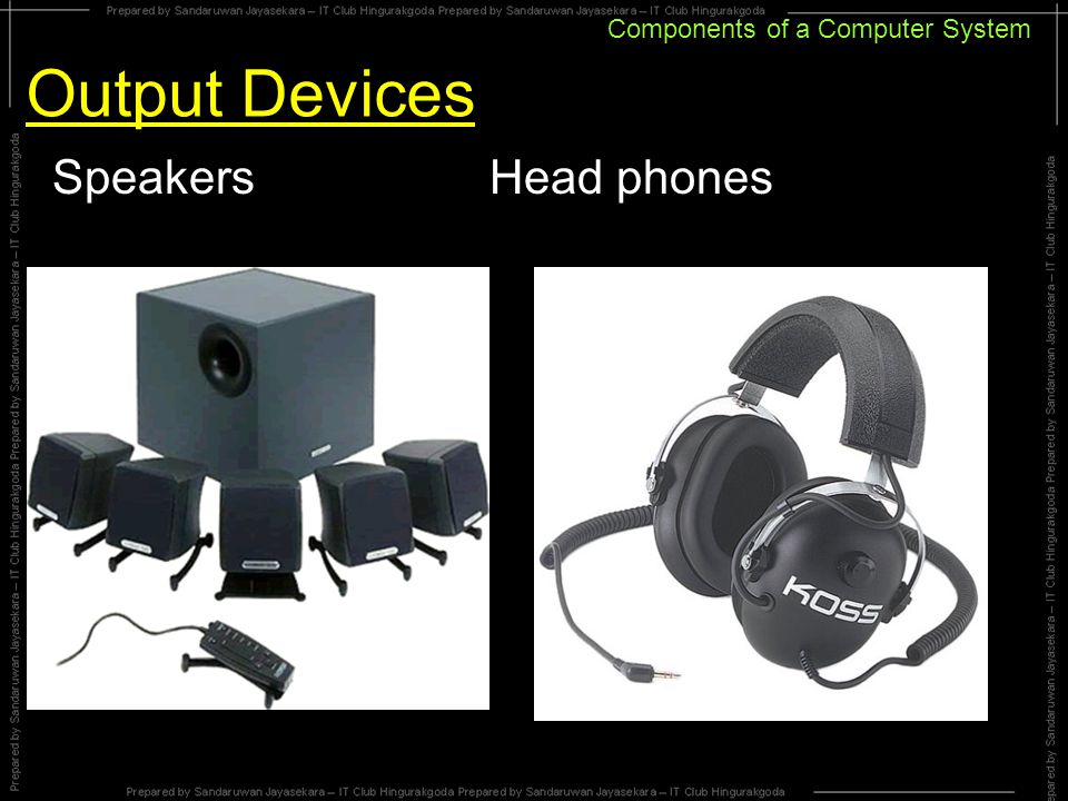 Components of a Computer System Output Devices Speakers Head phones