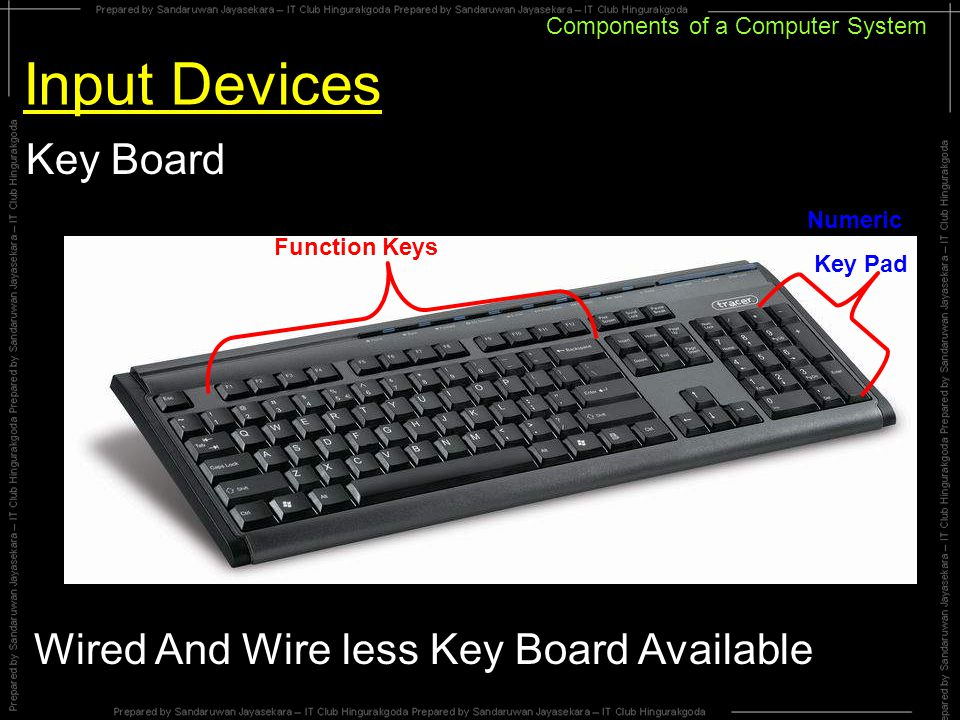 Components of a Computer System Input Devices Key Board Function Keys Numeric Key Pad Wired And Wire less Key Board Available