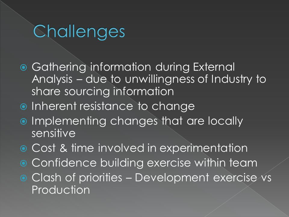  Gathering information during External Analysis – due to unwillingness of Industry to share sourcing information  Inherent resistance to change  Implementing changes that are locally sensitive  Cost & time involved in experimentation  Confidence building exercise within team  Clash of priorities – Development exercise vs Production