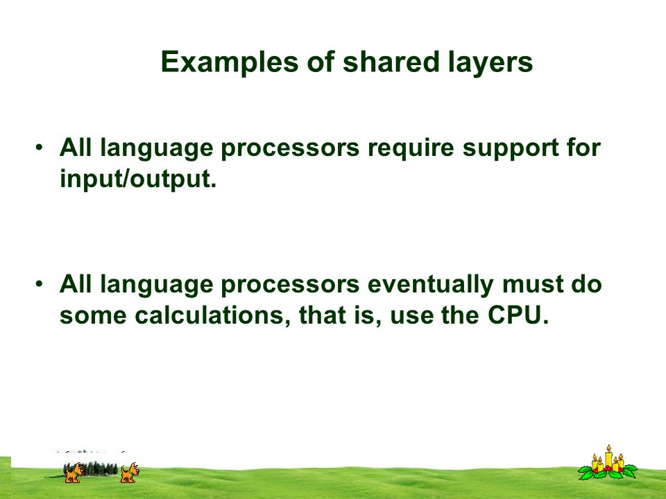 CSI 3125, Preliminaries, page 18 Examples of shared layers All language processors require support for input/output.