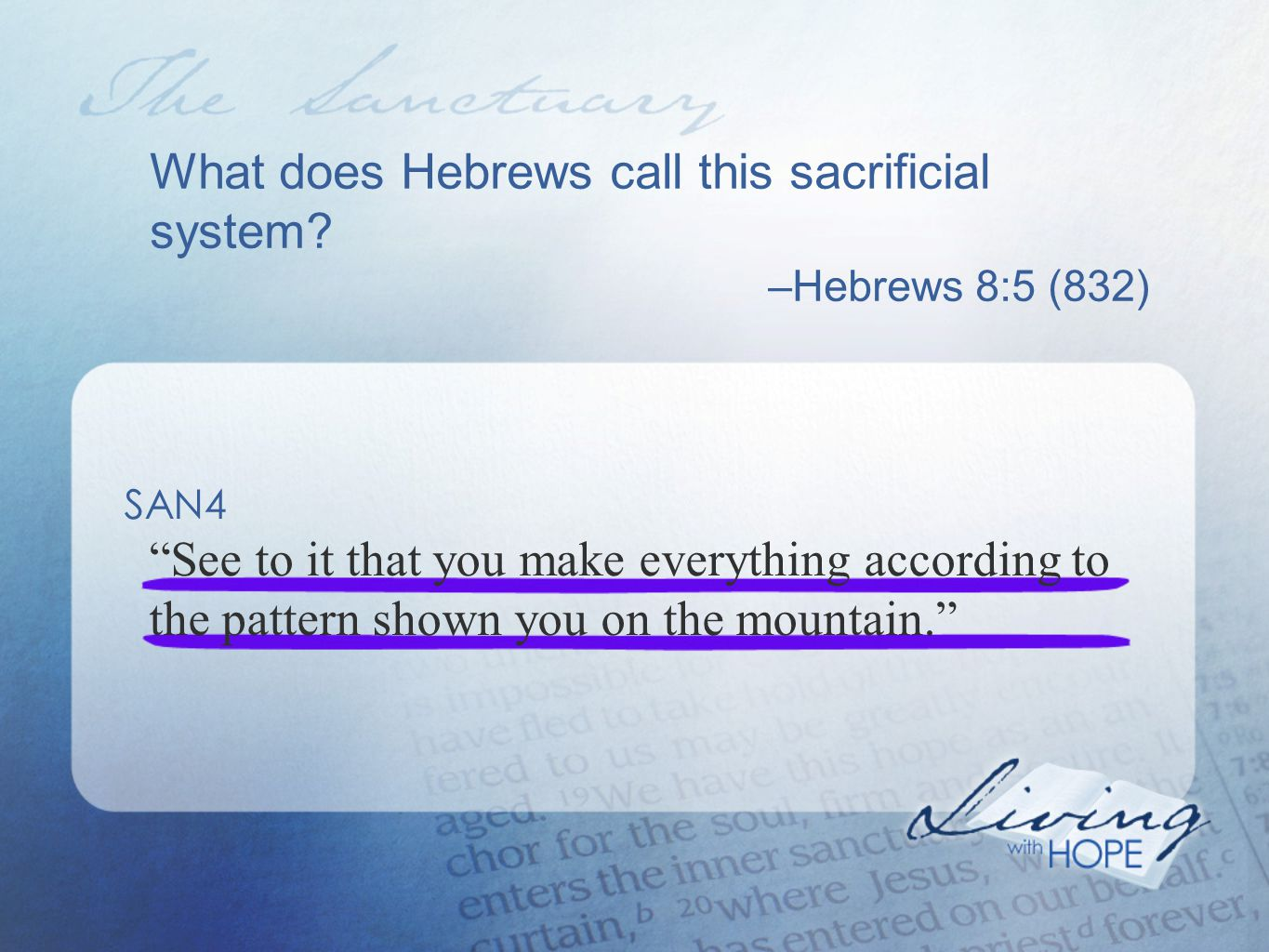 What does Hebrews call this sacrificial system.