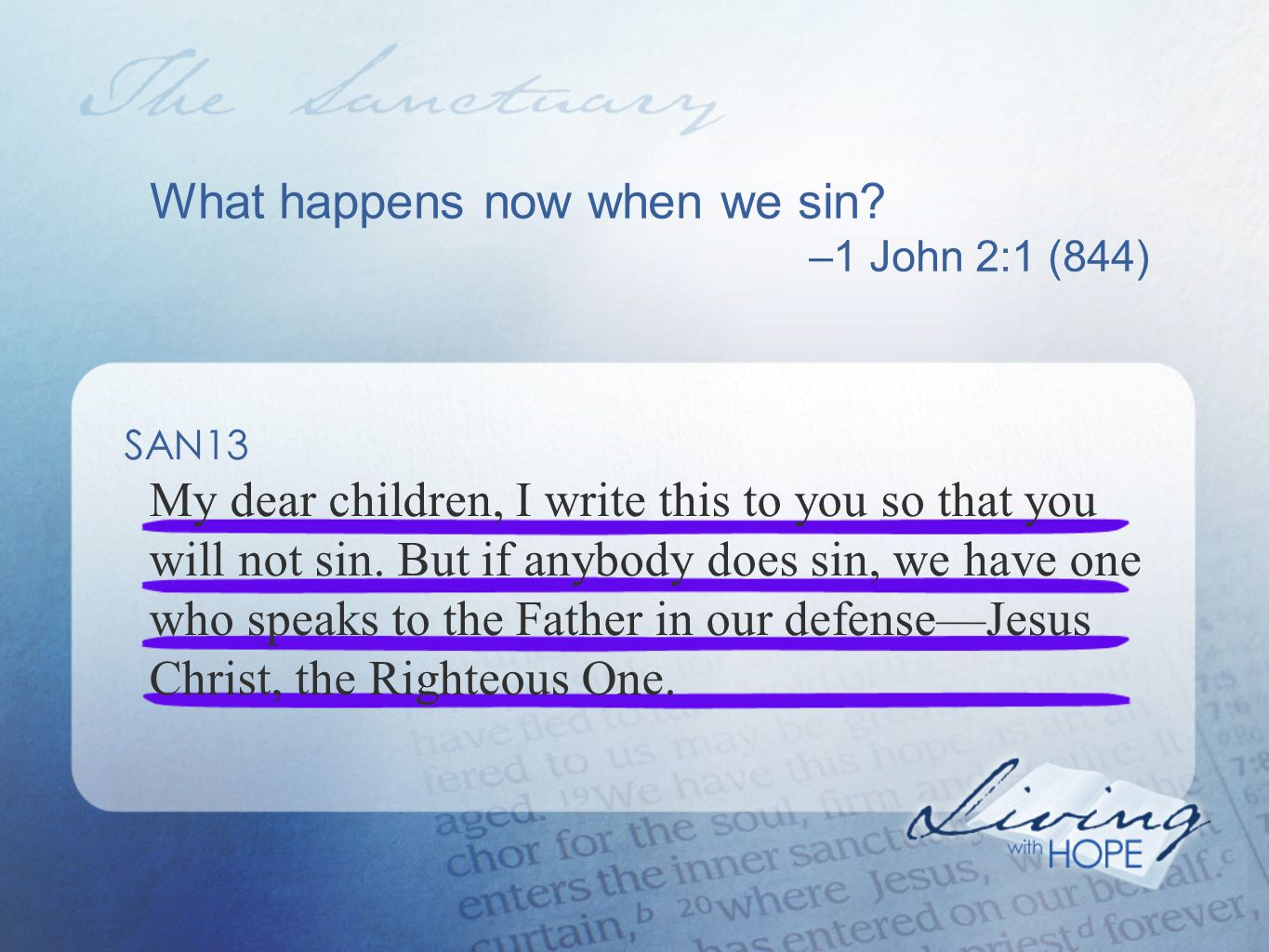 What happens now when we sin.
