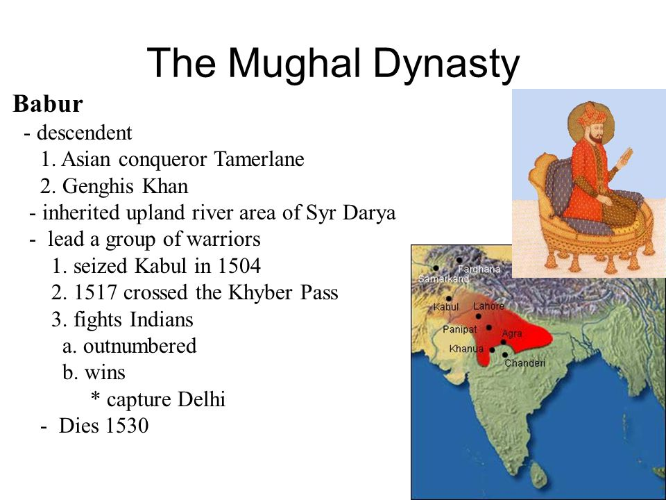 The Mughal Dynasty Struggle for Power Aurangzeb - kills his brother - imprisons his father - devoutly Muslim - good things 1.