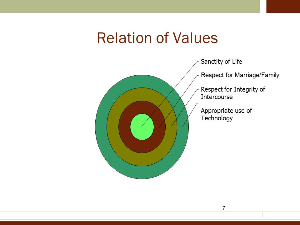 7 Relation of Values Sanctity of Life Respect for Marriage/Family Respect for Integrity of Intercourse Appropriate use of Technology