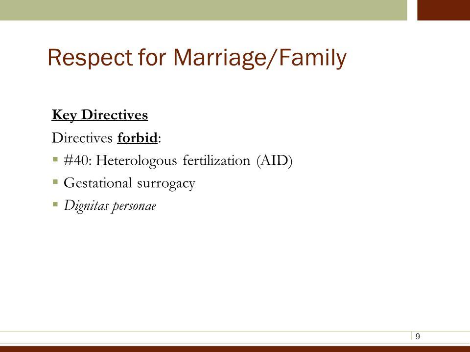 9 Respect for Marriage/Family Key Directives Directives forbid:  #40: Heterologous fertilization (AID)  Gestational surrogacy  Dignitas personae