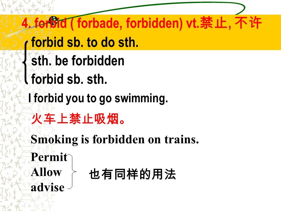 4. forbid ( forbade, forbidden) vt. 禁止, 不许 forbid sb. to do sth. sth. be forbidden forbid sb. sth. I forbid you to go swimming. 火车上禁止吸烟。 Smoking is fo