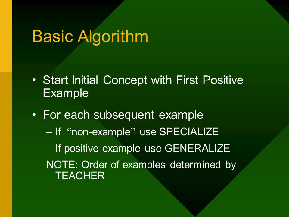 Basic Algorithm Start Initial Concept with First Positive Example For each subsequent example –If non-example use SPECIALIZE –If positive example use GENERALIZE NOTE: Order of examples determined by TEACHER