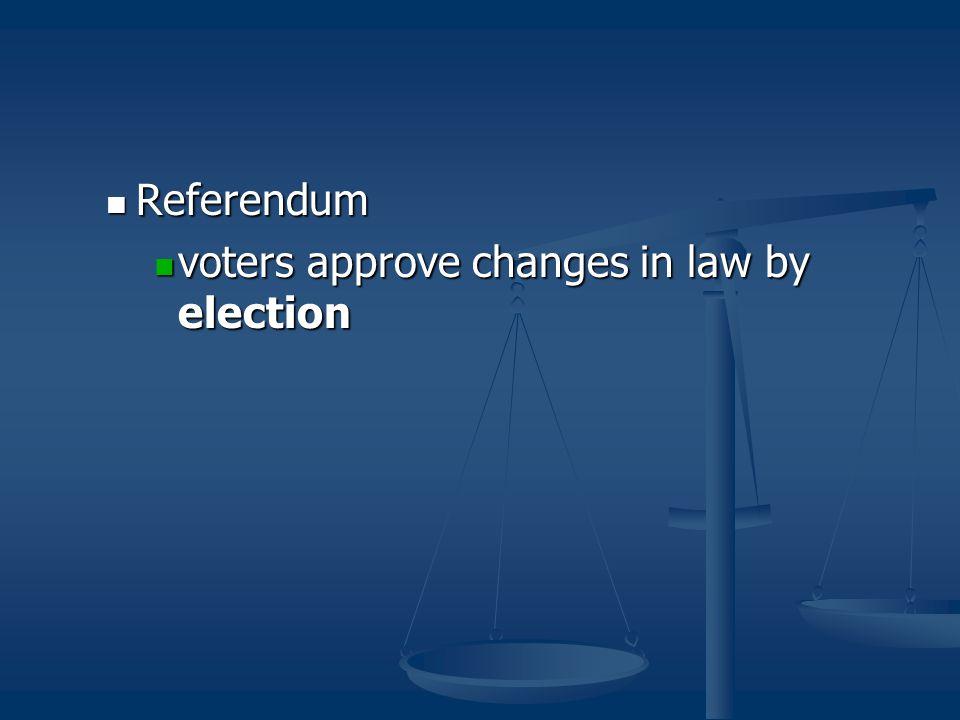 Referendum Referendum voters approve changes in law by election voters approve changes in law by election