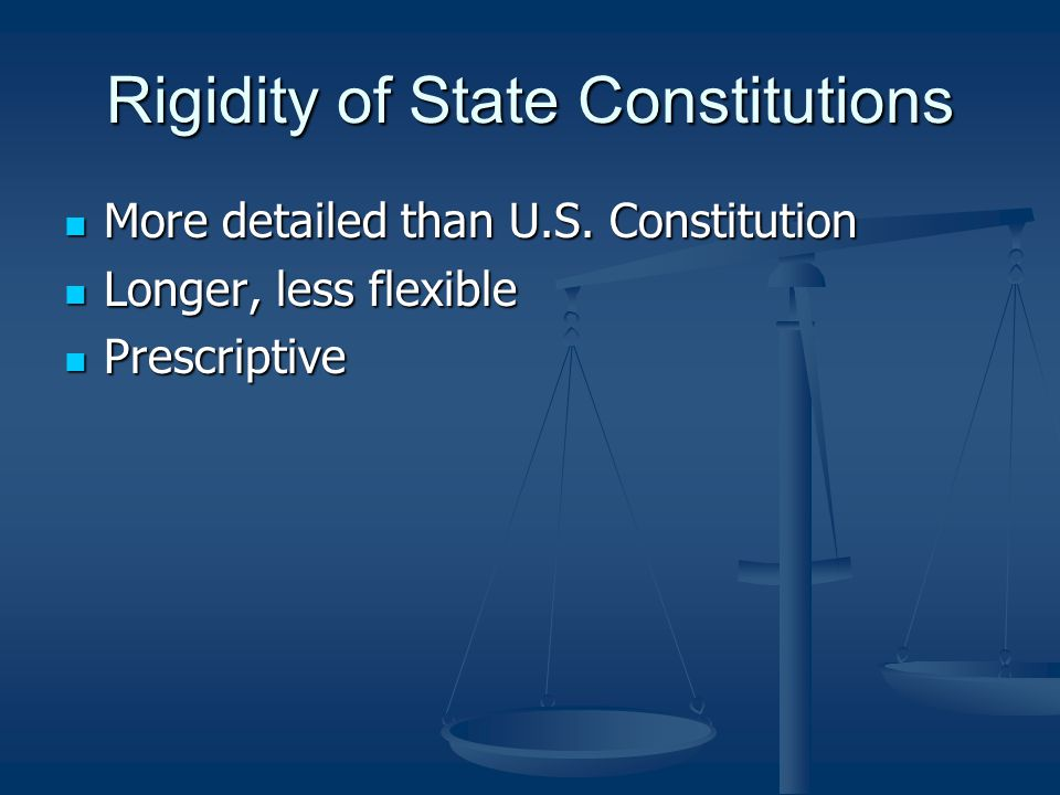 Constitution Today Not a living constitution Not a living constitution no flexibility built in no flexibility built in not serving current problems and concerns not serving current problems and concerns