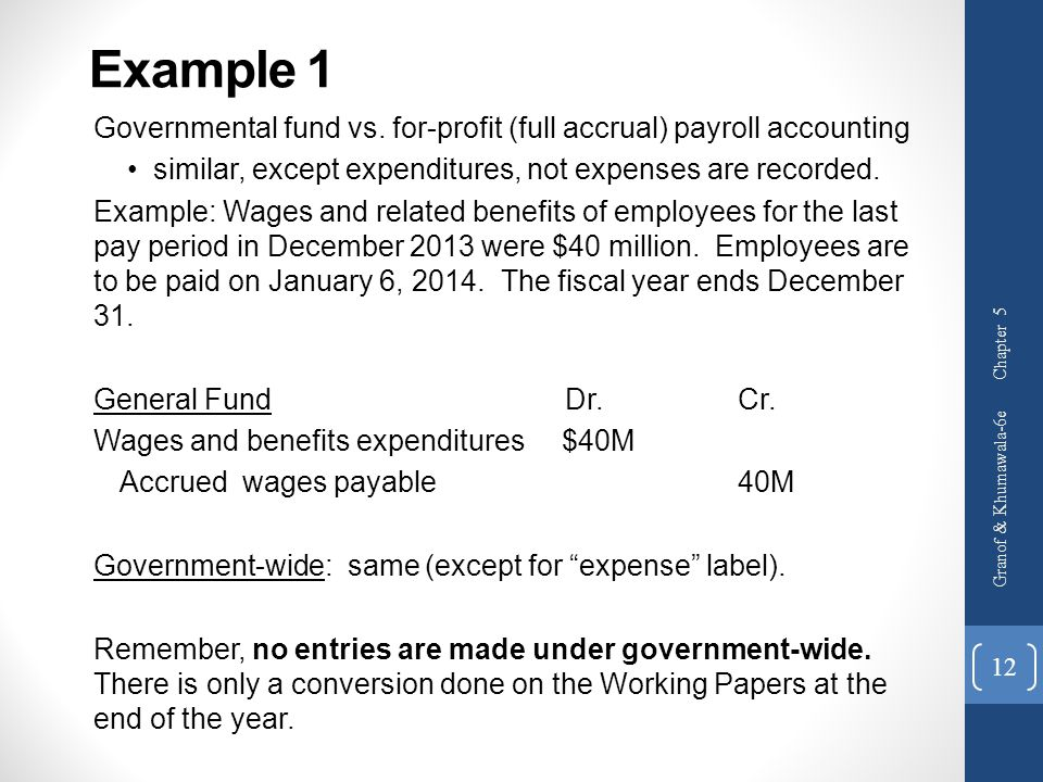 Governmental fund vs. for-profit (full accrual) payroll accounting similar, except expenditures, not expenses are recorded. Example: Wages and related