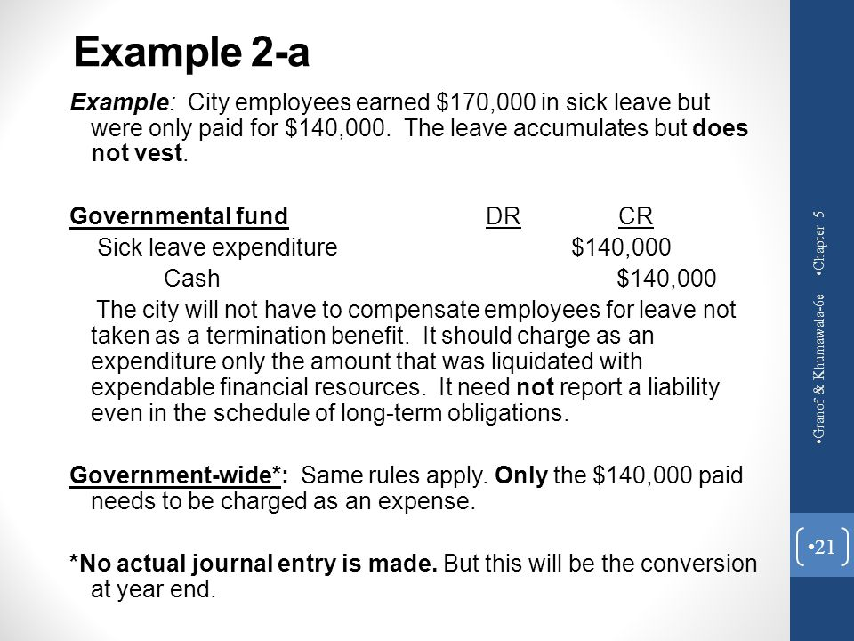 Example 2-a Example: City employees earned $170,000 in sick leave but were only paid for $140,000. The leave accumulates but does not vest. Government