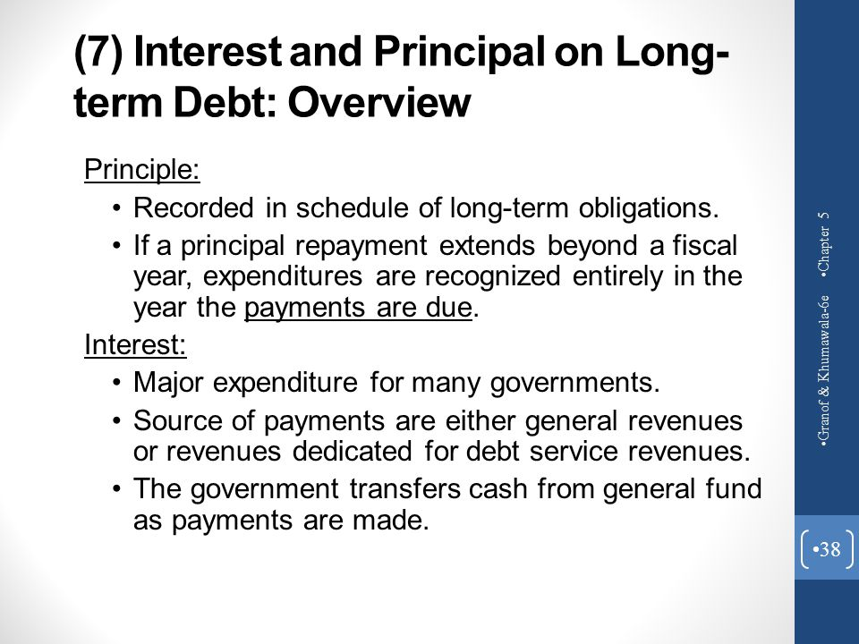 (7) Interest and Principal on Long- term Debt: Overview Principle: Recorded in schedule of long-term obligations. If a principal repayment extends bey