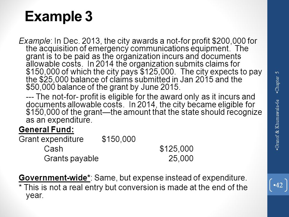 Example 3 Example: In Dec. 2013, the city awards a not-for profit $200,000 for the acquisition of emergency communications equipment. The grant is to