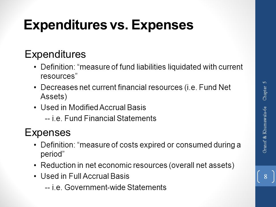 """Expenditures vs. Expenses Expenditures Definition: """"measure of fund liabilities liquidated with current resources"""" Decreases net current financial res"""
