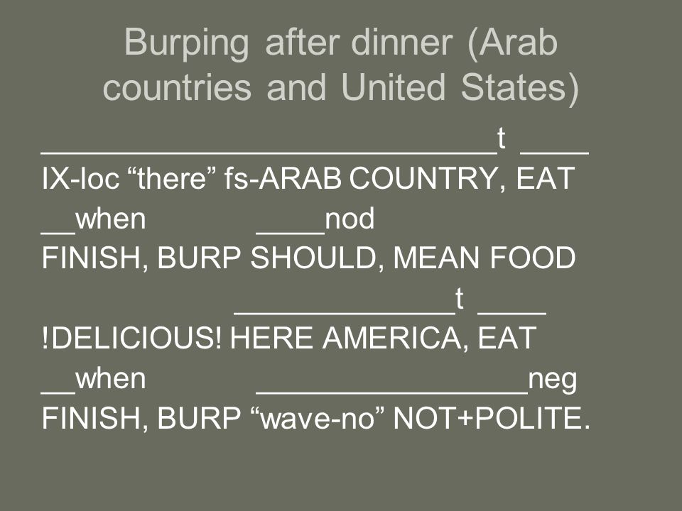 ___________________________t ____ IX-loc there fs-ARAB COUNTRY, EAT __when ____nod FINISH, BURP SHOULD, MEAN FOOD _____________t ____ !DELICIOUS.