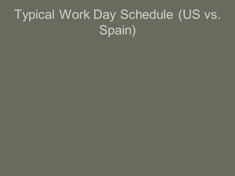 Typical Work Day Schedule (US vs. Spain)