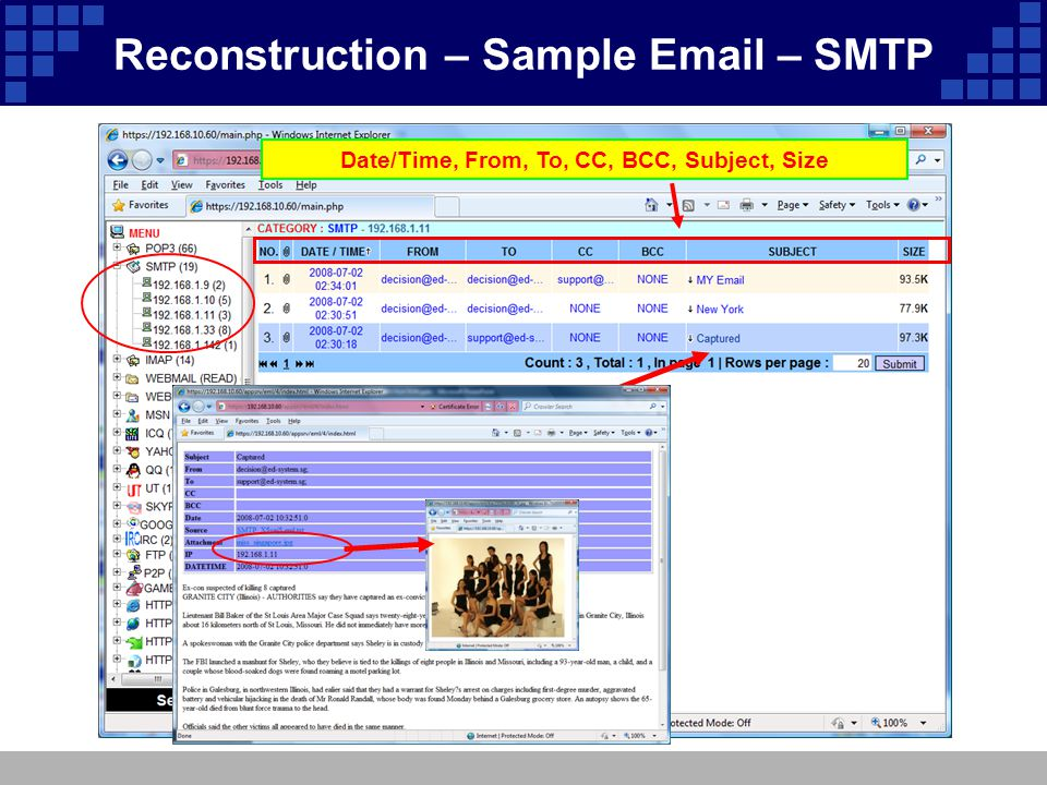 Date/Time, From, To, CC, BCC, Subject, Size Reconstruction – Sample Email – SMTP