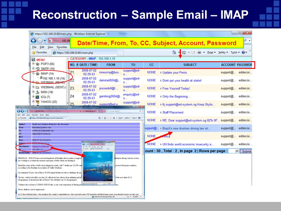 Date/Time, From, To, CC, Subject, Account, Password Reconstruction – Sample Email – IMAP