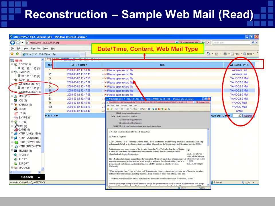 Date/Time, Content, Web Mail Type Reconstruction – Sample Web Mail (Read)