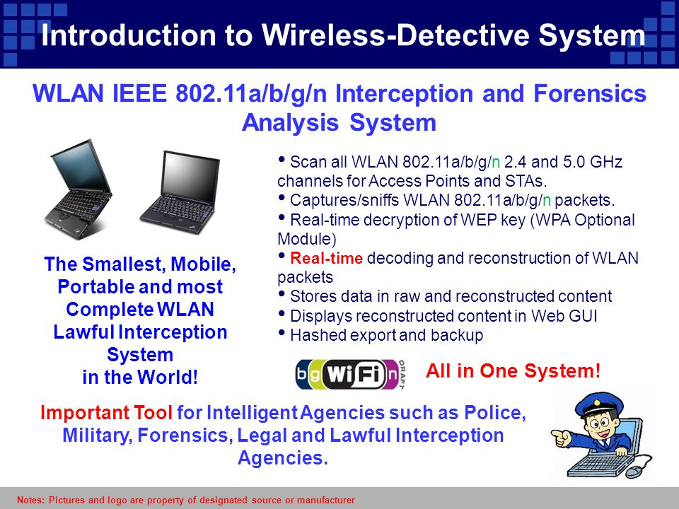 WLAN IEEE 802.11a/b/g/n Interception and Forensics Analysis System Important Tool for Intelligent Agencies such as Police, Military, Forensics, Legal