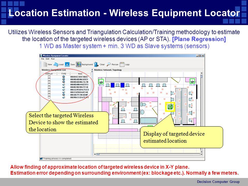 Location Estimation - Wireless Equipment Locator Utilizes Wireless Sensors and Triangulation Calculation/Training methodology to estimate the location