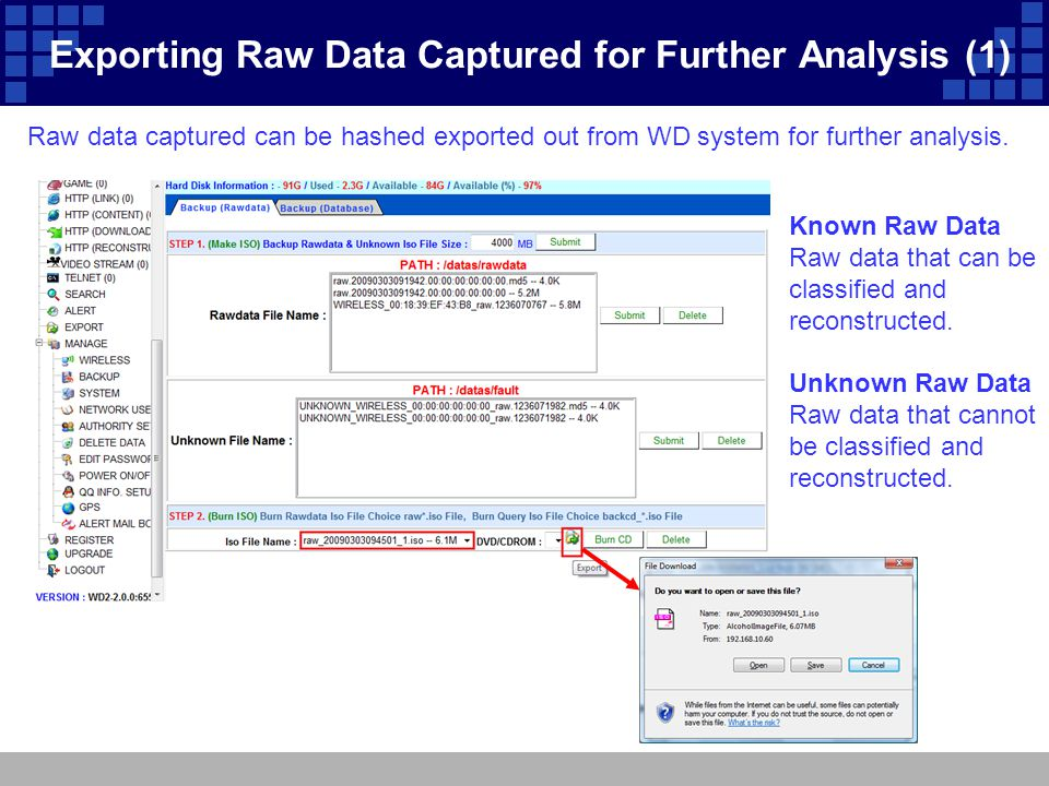 Exporting Raw Data Captured for Further Analysis (1) Raw data captured can be hashed exported out from WD system for further analysis. Known Raw Data