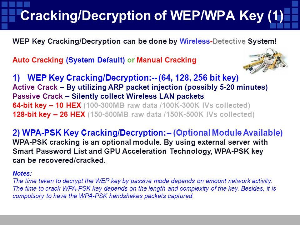 Cracking/Decryption of WEP/WPA Key (1) 1)WEP Key Cracking/Decryption:-- (64, 128, 256 bit key) Active Crack – By utilizing ARP packet injection (possi