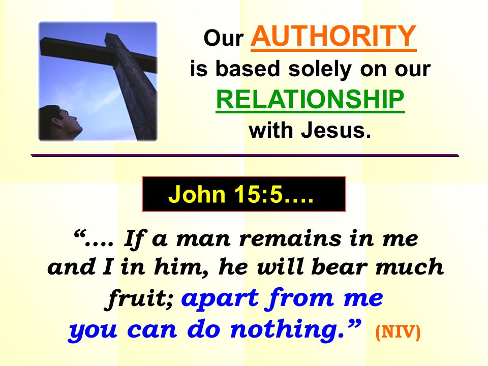 This is the AUTHORITY that is made available to us.