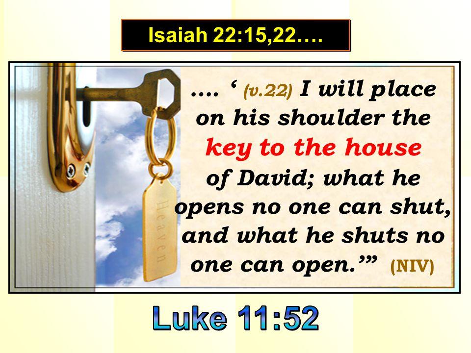 is a badge of authority. is a badge of authority. Isaiah 22:15,22….