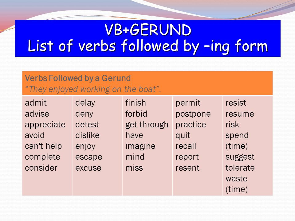 Verbs Followed by a Gerund They enjoyed working on the boat .