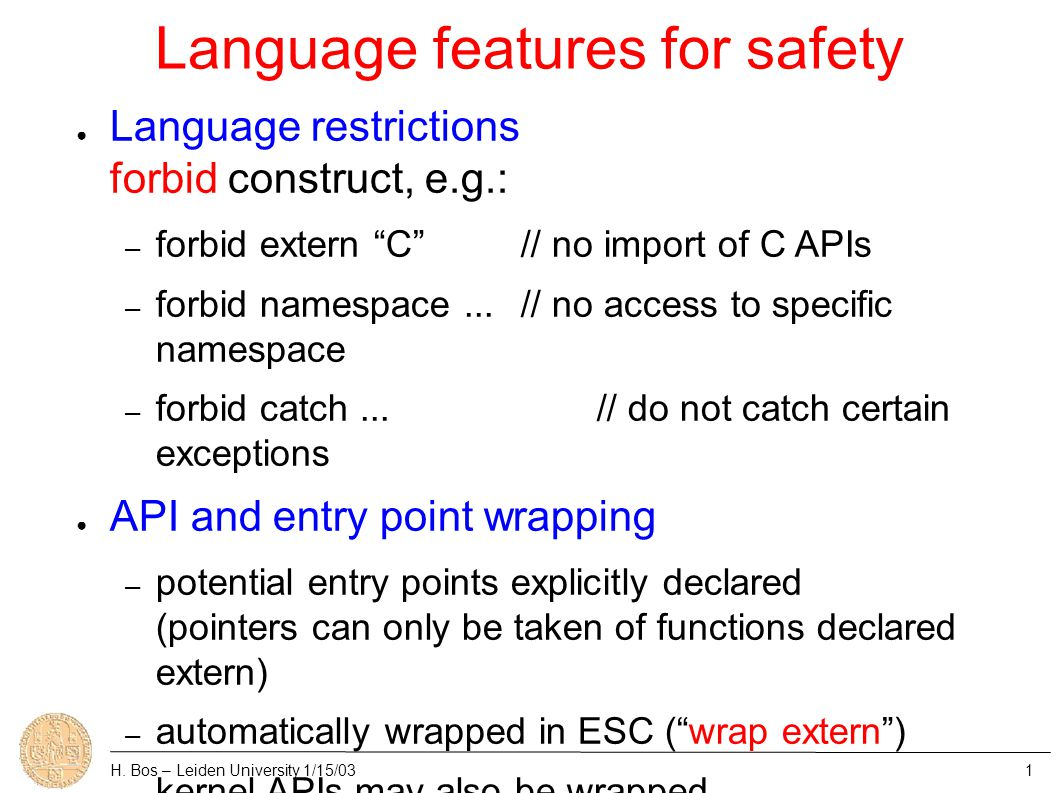 Language features for safety H.