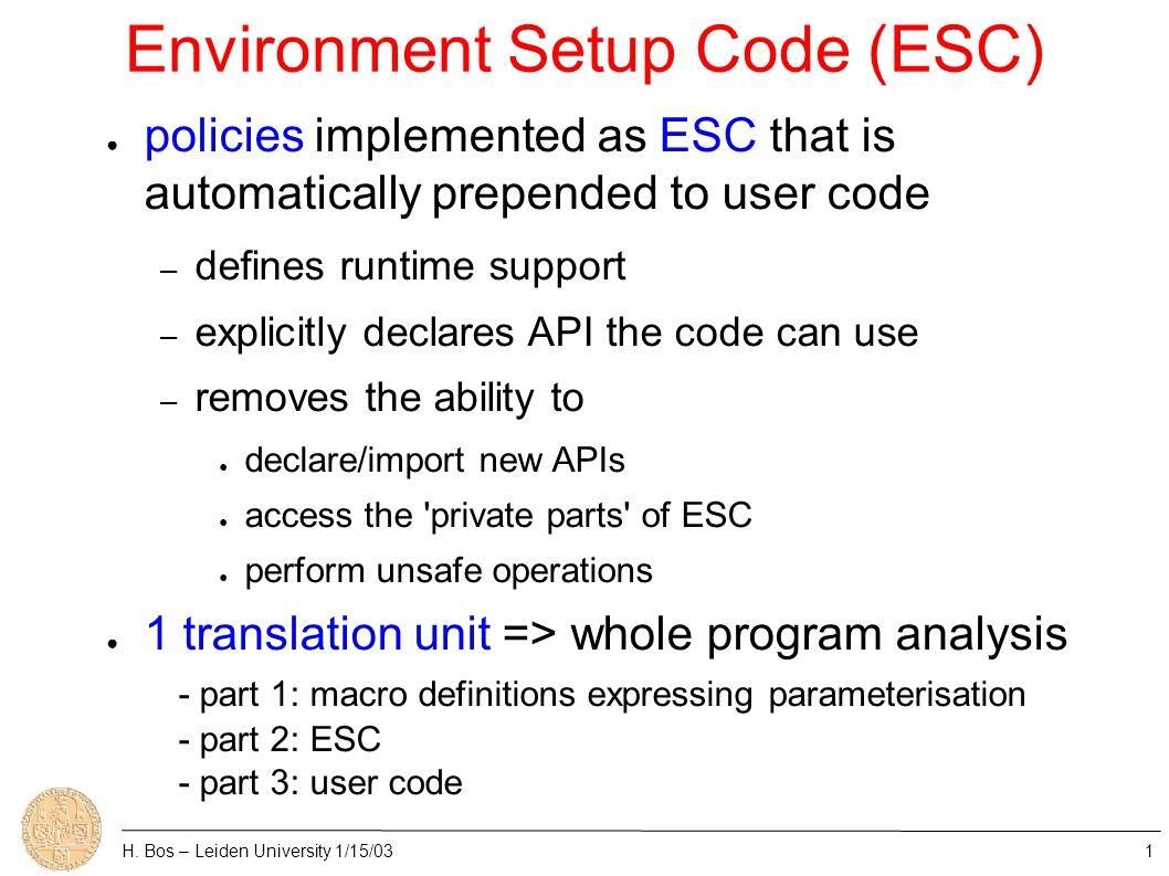 Environment Setup Code (ESC) H.