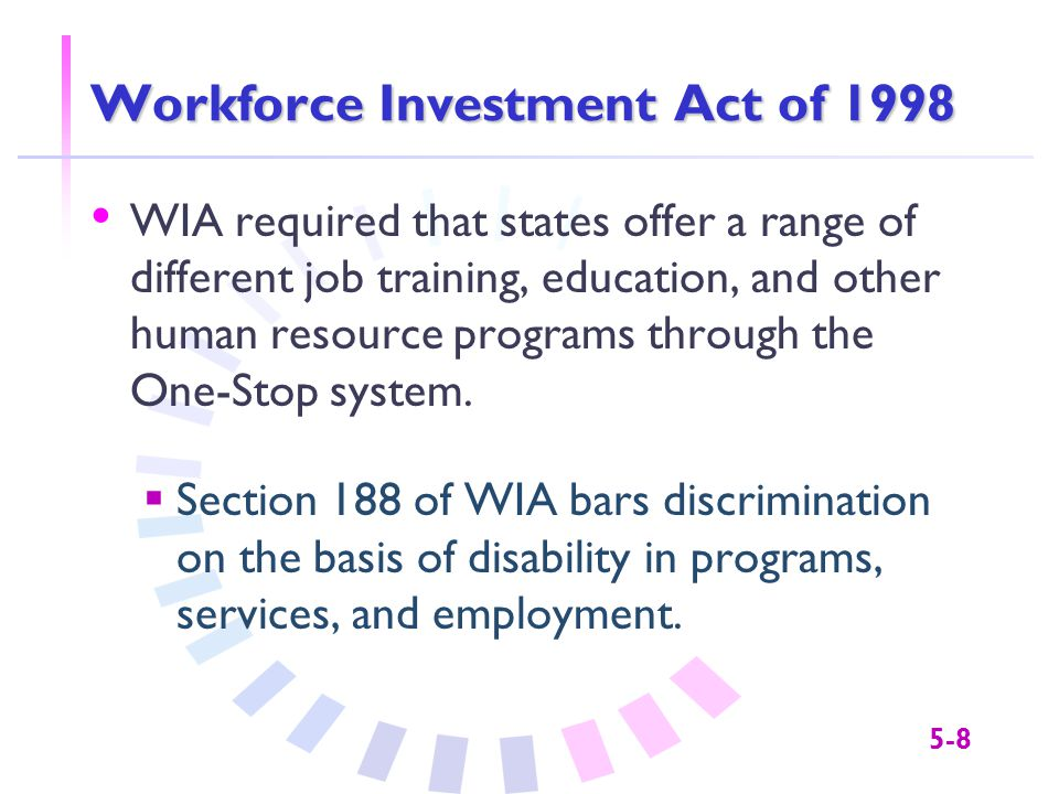5-8 Workforce Investment Act of 1998 WIA required that states offer a range of different job training, education, and other human resource programs through the One-Stop system.