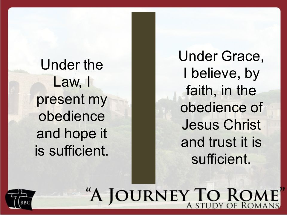 Under the Law, I present my obedience and hope it is sufficient.