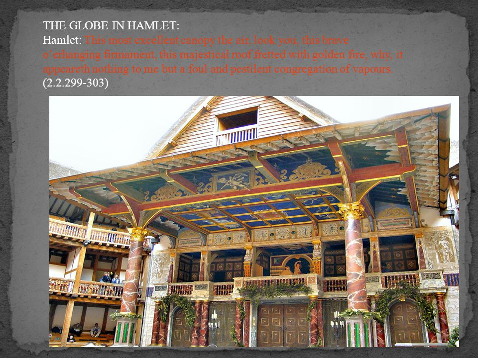THE GLOBE IN HAMLET: Hamlet: This most excellent canopy the air, look you, this brave o'erhanging firmament, this majestical roof fretted with golden fire, why, it appeareth nothing to me but a foul and pestilent congregation of vapours.