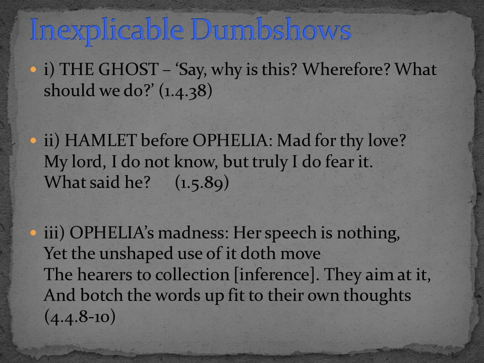 i) THE GHOST – 'Say, why is this? Wherefore? What should we do?' (1.4.38) ii) HAMLET before OPHELIA: Mad for thy love? My lord, I do not know, but tru