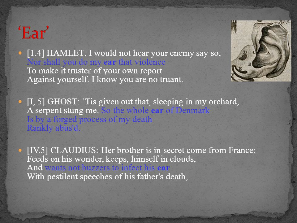 [1.4] HAMLET: I would not hear your enemy say so, Nor shall you do my ear that violence To make it truster of your own report Against yourself. I know