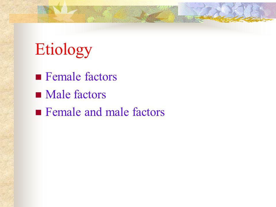 Etiology Female factors Male factors Female and male factors