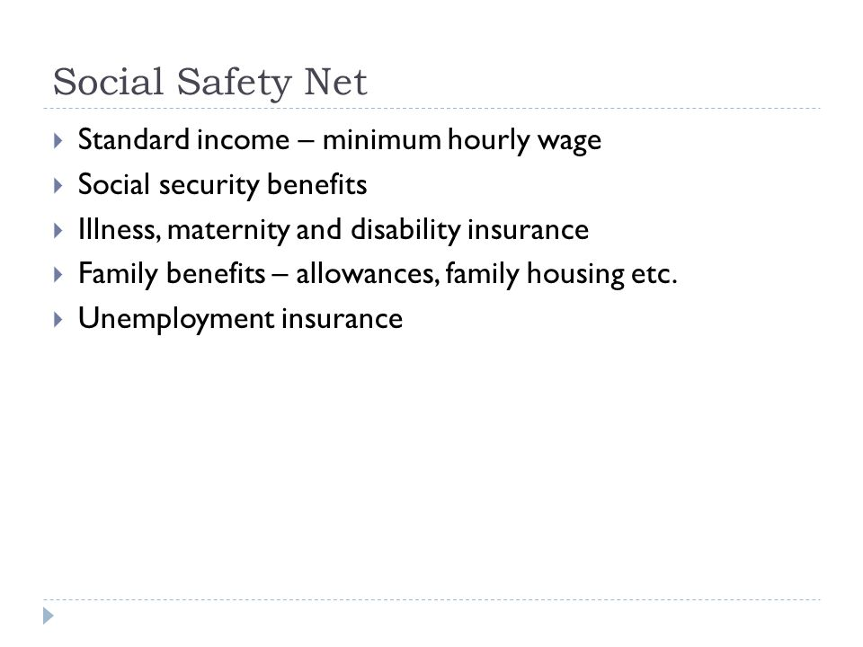 Social Safety Net  Standard income – minimum hourly wage  Social security benefits  Illness, maternity and disability insurance  Family benefits –