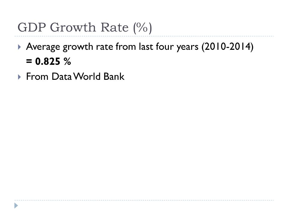 GDP Growth Rate (%)  Average growth rate from last four years (2010-2014) = 0.825 %  From Data World Bank