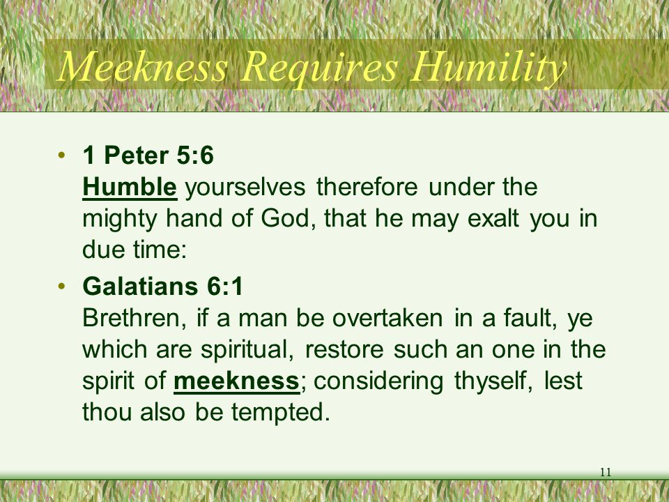 Meekness Requires Humility 1 Peter 5:6 Humble yourselves therefore under the mighty hand of God, that he may exalt you in due time: Galatians 6:1 Brethren, if a man be overtaken in a fault, ye which are spiritual, restore such an one in the spirit of meekness; considering thyself, lest thou also be tempted.
