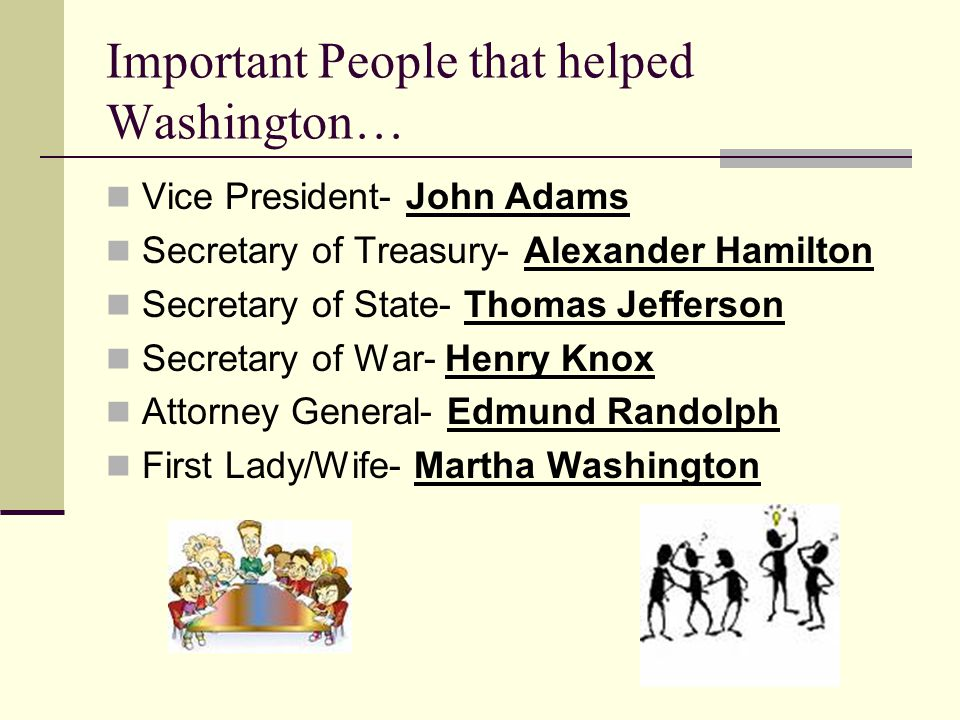Important People that helped Washington… Vice President- John Adams Secretary of Treasury- Alexander Hamilton Secretary of State- Thomas Jefferson Secretary of War- Henry Knox Attorney General- Edmund Randolph First Lady/Wife- Martha Washington