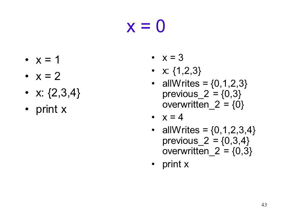 43 x = 0 x = 1 x = 2 x: {2,3,4} print x x = 3 x: {1,2,3} allWrites = {0,1,2,3} previous_2 = {0,3} overwritten_2 = {0} x = 4 allWrites = {0,1,2,3,4} previous_2 = {0,3,4} overwritten_2 = {0,3} print x