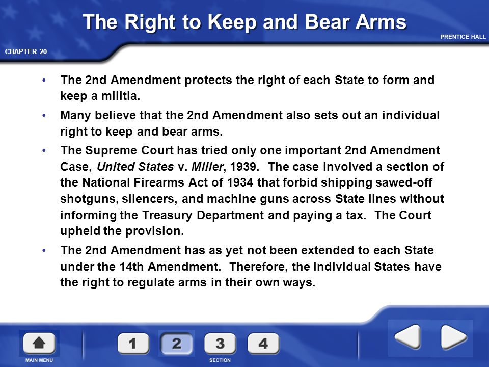 CHAPTER 20 The Right to Keep and Bear Arms The 2nd Amendment protects the right of each State to form and keep a militia. Many believe that the 2nd Am