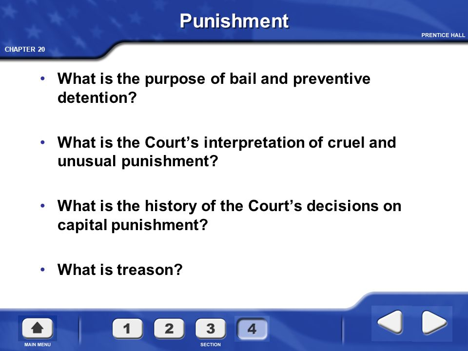 CHAPTER 20 Punishment What is the purpose of bail and preventive detention? What is the Court's interpretation of cruel and unusual punishment? What i