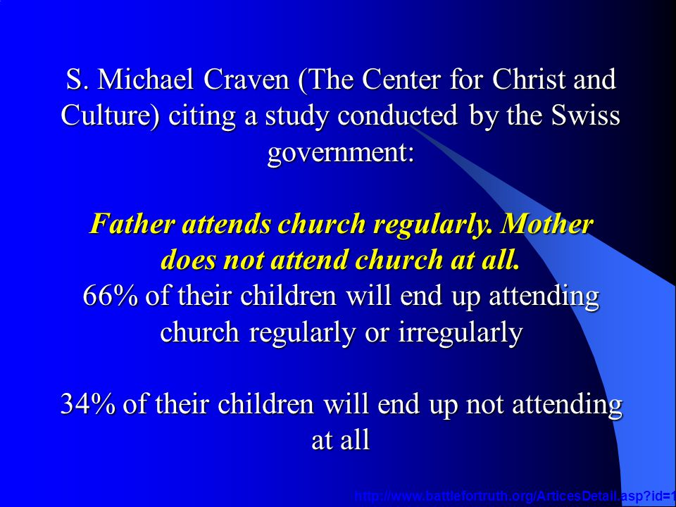 S. Michael Craven (The Center for Christ and Culture) citing a study conducted by the Swiss government: Father attends church regularly. Mother does n