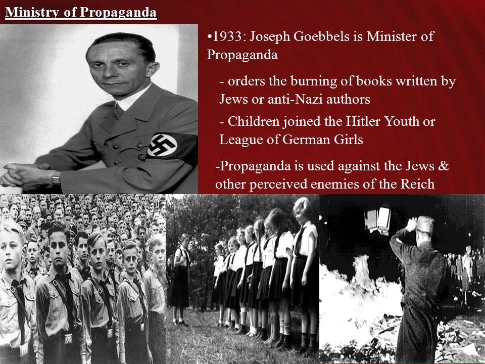 1933: Joseph Goebbels is Minister of Propaganda Ministry of Propaganda - Children joined the Hitler Youth or League of German Girls -Propaganda is used against the Jews & other perceived enemies of the Reich - orders the burning of books written by Jews or anti-Nazi authors