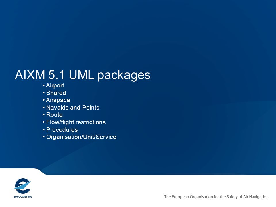 AIXM 5.1 UML packages Airport Shared Airspace Navaids and Points Route Flow/flight restrictions Procedures Organisation/Unit/Service