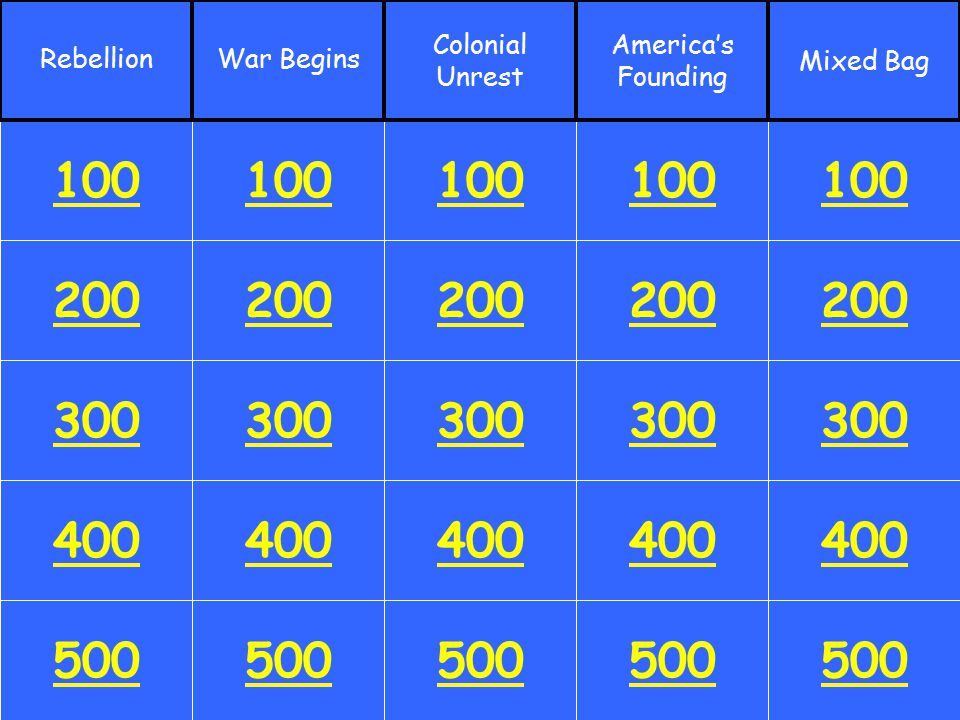 -Royal Colonies Row 4---500 Answer
